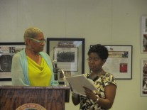 receiving feedback from Sandi Webster (right)