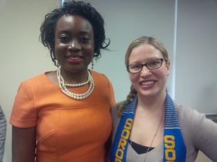 Mary Olushoga, Karen Block ( President of Soroptimist International of Manhattan Beach)