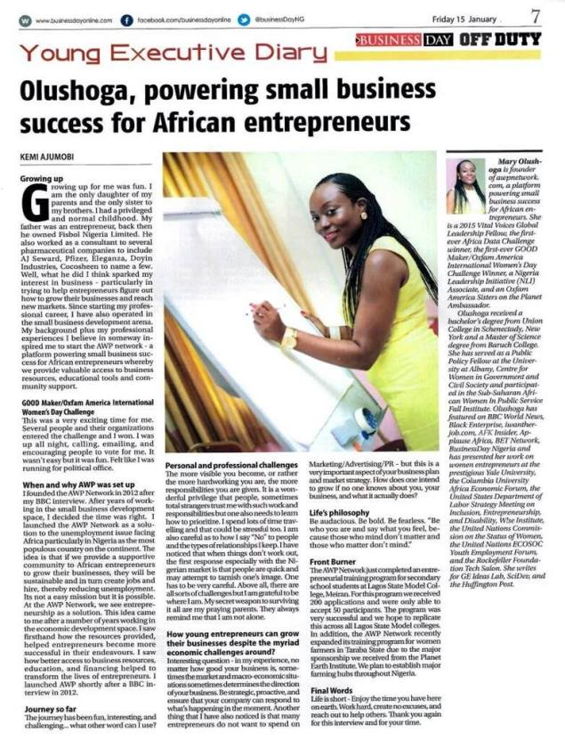 Mary Olushoga in BusinessDay